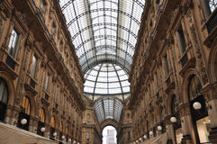 Galleria Vittorio Emanuele II, Milan, Italy. The Galleria Vittorio Emanuele II is a covered double arcade formed of two glass-vaulted arcades at right angles Royalty Free Stock Image