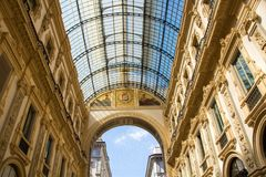 Galleria Vittorio Emanuele II is one of the most popular shopping areas in Milan. Royalty Free Stock Images