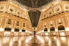 Galleria Vittorio Emanuele II in Milan, Italy. Galleria Vittorio Emanuele II at night, Milan, Lombardia, Italy stock photo
