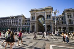 Milan, Italy. The Galleria Vittorio Emanuele II, one of the world`s oldest shopping malls. Housed within a four-story double arcade, it is named after the first Stock Images