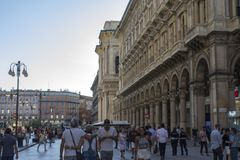 Milan, Italy. The Galleria Vittorio Emanuele II, one of the world`s oldest shopping malls. Housed within a four-story double arcade, it is named after the first Royalty Free Stock Image