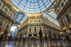 Milan, Italy. The Galleria Vittorio Emanuele II, one of the world`s oldest shopping malls. Housed within a four-story double arcade, it is named after the first Stock Photography