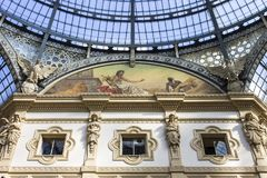 Milan, Italy. The Galleria Vittorio Emanuele II, one of the world`s oldest shopping malls. Housed within a four-story double arcade, it is named after the first Royalty Free Stock Photo