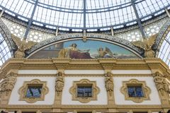 Milan, Italy. The Galleria Vittorio Emanuele II, one of the world`s oldest shopping malls. Housed within a four-story double arcade, it is named after the first Stock Image