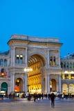 Galleria Vittorio Emanuele II shopping mall entrance in Milan, I. MILAN, ITALY - NOVEMBER 24: Galleria Vittorio Emanuele II shopping mall entrance with people Stock Photo