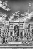 Galleria Vittorio Emanuele II vända mot Piazza Duomo i Milan, Ital Arkivbild
