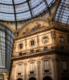 Galleria Vittorio Emanuele II. View of the glass roof and upper floors Stock Photo