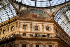 Galleria Vittorio Emanuele II. View of the glass roof and upper floors Royalty Free Stock Photography