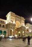 Galleria Vittorio Emanuele II w Mediolan przy nocą Zdjęcia Stock