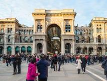 Galleria Vittorio Emanuele II w Mediolan w wieczór obrazy stock