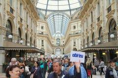 Galleria Vittorio Emanuele. People walking  in Galleria Vittorio Emanuele in Milan, Italy Stock Image