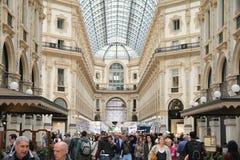 Galleria Vittorio Emanuele. People walking  in Galleria Vittorio Emanuele in Milan, Italy Stock Images
