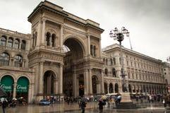 Galleria Vittorio Emanuele in a rainy day Stock Image