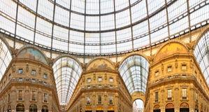 Galleria Vittorio Emanuele shopping Center, Milan,. Galleria Vittorio Emanuele shopping Center at sunset Milan, Italy Stock Photo