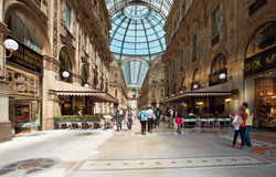 Galleria Vittorio Emanuelle in Milan. Galleria Vittorio Emanuelle.Exclusive shopping gallery with many elegant boutiques and fashion creator outlets in Milano Stock Photos