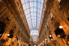 Galleria Vittorio in Milan. The Galleria Vittorio Emanuele II is a covered arcade situated on the northern side of the Piazza del Duomo in Milan Royalty Free Stock Photos