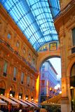 Galleria Vittorio in Milan. The Galleria Vittorio Emanuele II is a covered arcade situated on the northern side of the Piazza del Duomo in Milan Stock Image