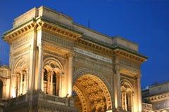 Galleria Vittorio 's nachts Emanuele stock fotografie