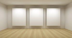 Galleria vuota, stanza 3d Fotografie Stock Libere da Diritti