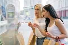 Gallerian för shoppingkvinnaförsäljningen ställer ut stadsbegrepp Arkivfoto