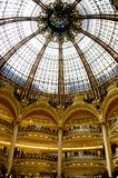 Gallerie Lafayette interior. A view of the indoor balconies and the glass dome of Gallerie Lafayette, Paris, France Stock Photo