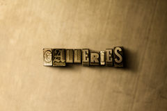 GALLERIES - close-up of grungy vintage typeset word on metal backdrop Royalty Free Stock Image