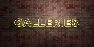 GALLERIES - fluorescent Neon tube Sign on brickwork - Front view - 3D rendered royalty free stock picture Royalty Free Stock Images