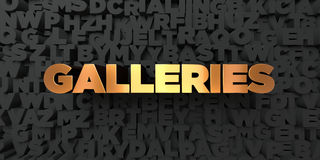 Galleries - Gold text on black background - 3D rendered royalty free stock picture Royalty Free Stock Images