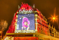 Galleries Lafayette in a Winter Night in Paris Stock Photography