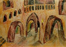 Galleries and passages inside the cliff pencil drawing crayon. Galleries, windows, stairs, balconie sand passages inside the cliff pencil drawing crayon Stock Photos