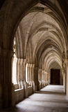 Galleries of Poblet Monastery. Stone galleries of inner court of Poblet Monastery at day in Spain Stock Photography