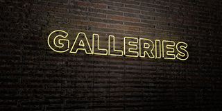 GALLERIES -Realistic Neon Sign on Brick Wall background - 3D rendered royalty free stock image Stock Photography
