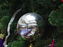The galleries shopping centre, reflected in a silver bowl. The galleries shopping centre, reflected in a silver ball hanging on a Christmas tree Royalty Free Stock Image