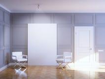 Galleriinre med tomt inramar på trä däckar Royaltyfria Foton