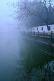 Forntida galleri i dimman Royaltyfri Foto