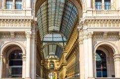 GalleriVittorio Emanuele II berömd lyxig shoppinggalleria, Milan royaltyfri fotografi