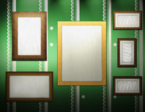 Gallery. Image of various wooden frames on the wall Royalty Free Stock Images