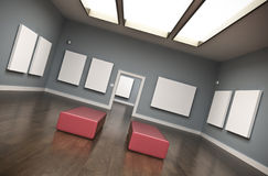 Gallery. Interior with blank canvases. 3D rendered image Stock Photos