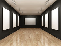 Gallery. With blank white canvases Royalty Free Stock Image