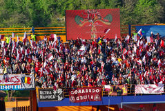 The gallery. Image with CFR Cluj fans on Piatra Neamt stadium. Romanian cup finals between CFR Cluj and Unirea Urziceni (2 - 1), 10 may 2008 Royalty Free Stock Image