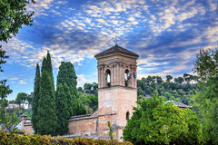 Gallery Alhambra Granada Andalusia Spain. Alhambra is the last Moorish Moslem Palace that was conquered by King Ferdinand and Queen Isabella in 1492 Stock Photo