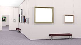 Gallery of art with two copyspaces. Art gallery interior with framed pictures including two white copyspace canvases. Rendered 3d design Royalty Free Stock Photography