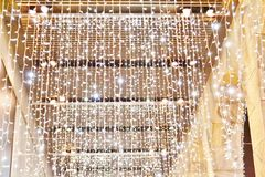 Gallery attached to the Rinascente store decorated with beautiful LED garlands for the Christmas holidays. stock photo