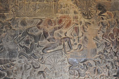 Gallery of Bas-Reliefs at Angkor Wat Royalty Free Stock Photography