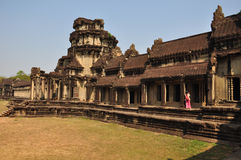 The Gallery of Bas-Reliefs from gopura III at Angkor Wat Stock Photos
