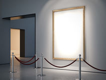 Gallery with blank golden frame. 3d rendering Stock Image