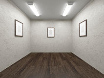 Gallery with blank pictures Stock Photos