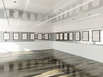 Gallery with blank pictures Royalty Free Stock Images