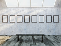 Gallery with blank pictures Stock Image