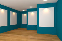 Gallery blue room Stock Photo